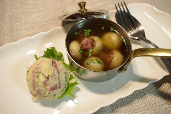 生ハムマッシュルームのオイル煮と生ハムポテト