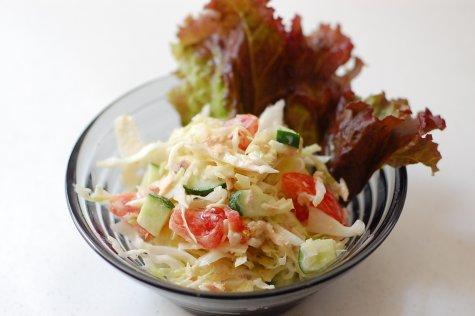 【節電・省エネ】 鮭缶で作るサラダ