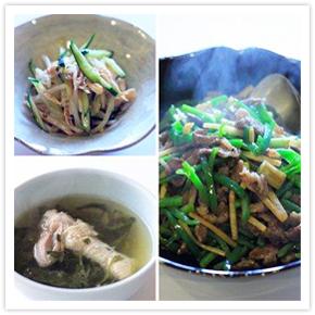 【料理写真】今日は「チンジャオロースー 、モヤシとささみの中華風和え物 、手羽元とクレソンのスープ」