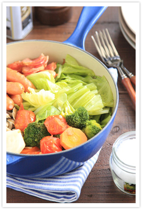 【料理写真】野菜を蒸してたっぷりと