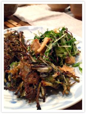 【料理写真】水菜とひじきのかき揚げ