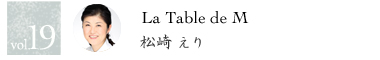 vol.19 La Table de M 松崎えり