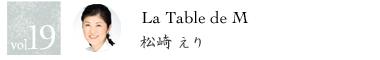 vol.19 La Table de M 松崎えり