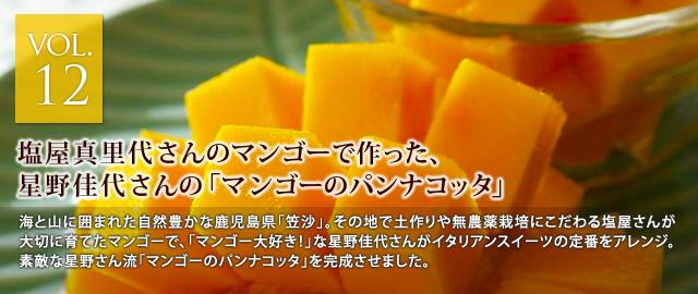 vol.12 塩屋真里代さんのマンゴーで作った、星野佳代さんの「マンゴーのパンナコッタ」