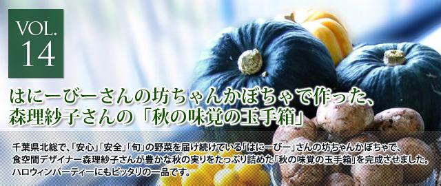 vol.14 はにーびーさんの坊ちゃんかぼちゃで作った、森理紗子さんの「秋の味覚の玉手箱」
