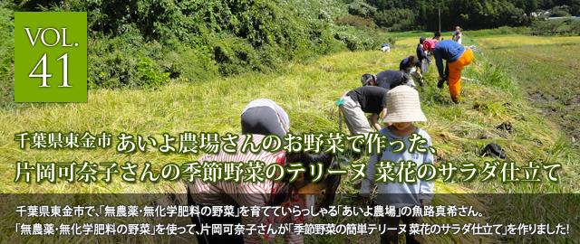 vol.41 あいよ農場さんの無農薬・無化学肥料のお野菜で作った、ラトリエ・デ・ヴァン片岡可奈子さんの季節野菜のテリーヌ 菜花のサラダ仕立て