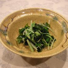 水菜とワカメのわさび和え