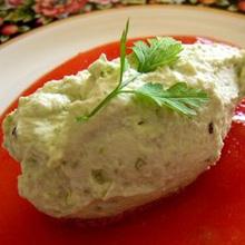 空豆のムース トマトドレッシング添え