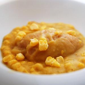 蓮根のクネル風・トウモロコシのとろみスープソース