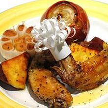 鶏とさつまいも、丸ごと野菜のロースト