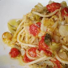 春キャベツとミニトマトスパゲッティ