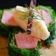 鮭のロール・クリームビネガーソース