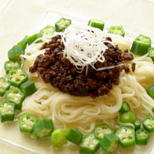 ジャージャー麺風 オクラと肉味噌のスタミナ!!そうめん