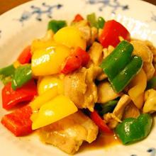鶏肉とピーマンの辛味味噌炒め