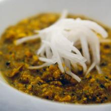 食べるカボチャ蓮根スープ 大根のせ クミンの香り