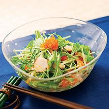 水菜と大根とタコのサラダ とびっこドレッシング