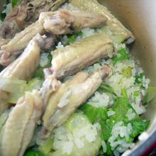 セロリと鶏肉の炊き込みピラフ