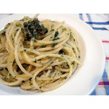 青じそとナッツのジェノベーゼ風スパゲッティ