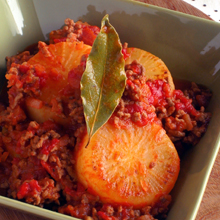 大根とひき肉のトマト煮