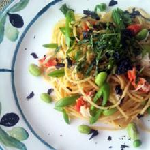 枝豆と蟹の和風パスタ