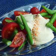 トマトといんげん豆のサラダ ふんわり豆腐ドレッシング