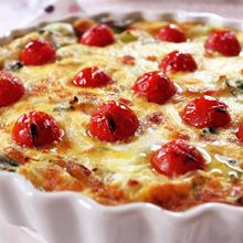 チンゲン菜とトマトのトルタサラータ