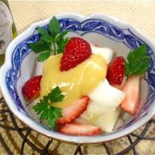 苺とうどの酢みそあえ オリーブオイル風味