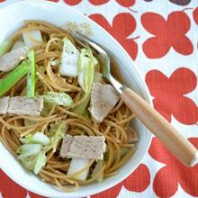 塩チャーシューと白菜のパスタ
