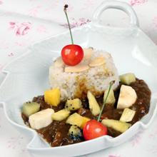 蕎麦米ときびご飯のフルーツカレー