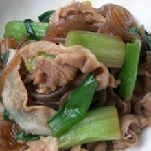 豚肉・葱・糸こんにゃくの煮物