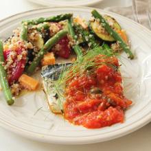 塩鯖のハーブソテー トマトとブラックオリーブのソース