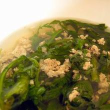 春菊と豚肉のスープ エスニック味