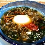 温泉卵とモロヘイヤの冷やし雑炊